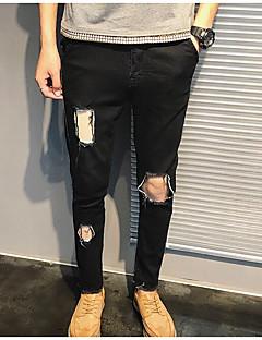 billige Herrebukser og -shorts-Herre Normal Gatemote Mikroelastisk Skinny Jeans Bukser, Naturlig Polyester Ensfarget Høst