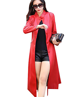 cheap -Women's Daily Weekend Going out Simple Casual Winter Fall Long Leather Jacket, Solid Stand PU