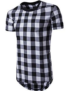 billige Herremote og klær-Bomull Rund hals T-skjorte Herre - Rutet