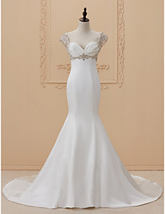 cheap Wedding Dresses-Mermaid / Trumpet Sweetheart Sweep / Brush Train Satin Charmeuse Custom Wedding Dresses with Appliques Criss Cross by LAN TING BRIDE®