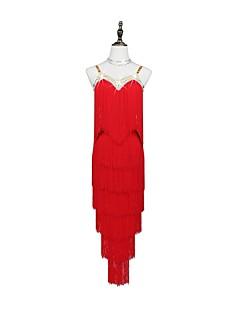 お買い得  ラテンダンスウェア-ラテンダンス ドレス 女性用 性能 スパンデックス クリスタル / ラインストーン ノースリーブ ドレス