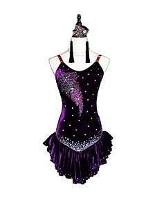 baratos Roupas de Dança Latina-Dança Latina Vestidos Mulheres Espetáculo Chiffon Aveludado Cristal / Strass Sem Manga Brincos / Colares / Braceletes