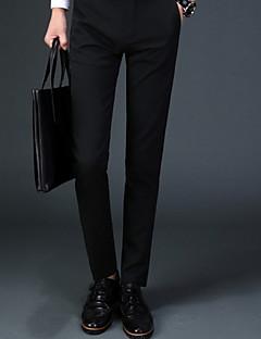 お買い得  メンズパンツ&ショーツ-男性用 標準 シンプル ヴィンテージ ミッドライズ マイクロエラスティック スーツ パンツ, コットン アクリル ソリッド 春