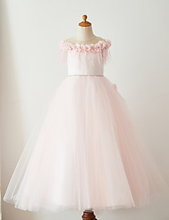 cheap Pageant Dresses-Ball Gown Floor Length Flower Girl Dress - Satin Tulle Sleeveless Jewel Neck with Feathers / Fur Belt by LAN TING Express