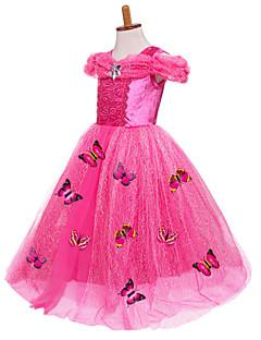 billige Halloweenkostymer-Prinsesse / Cinderella / Eventyr Kjoler / Party-kostyme Jul / Maskerade Festival / høytid Halloween-kostymer Gul / Blå / Rosa Fargeblokk Ballkjole Sko / Mesh Bedårende