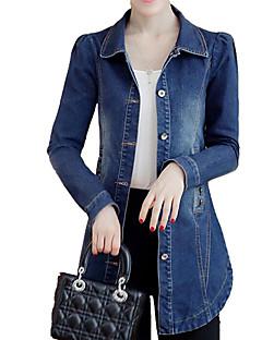 preiswerte Damen Jeansjacken-Damen Solide Jeansjacke, Hemdkragen Jeansstoff