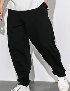 billige Herremote og klær-Herre Normal Enkel Chinoiserie Mikroelastisk Chinos Bukser, Mellomhøyt liv Polyester Ensfarget Vår