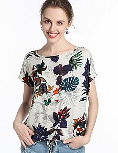 billige T-shirt-Dame - Planter Trykt mønster Gade Bluse / Sommer / Blomstret