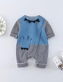 billige Babytøj-Baby Unisex En del Daglig Farveblok, Bomuld Forår Sommer Halvlange ærmer Sødt Aktiv Lyseblå