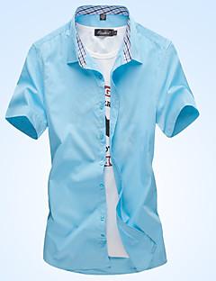 billige Herremote og klær-Skjorte Herre-Ensfarget Rutet Forretning Grunnleggende