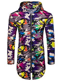 お買い得  メンズジャケット&コート-男性用 スポーツ / お出かけ ロング ジャケット フード付き カモフラージュ プリント