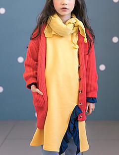 billige Sweaters og cardigans til piger-Pige Trøje og cardigan Daglig Ensfarvet, Polyester Forår Langærmet Simple Orange Gul