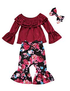 billige Tøjsæt til piger-Pige Tøjsæt I-byen-tøj Ferie Ensfarvet Blomstret, Rayon Polyester Forår Efterår Langærmet Gade Boheme Vin