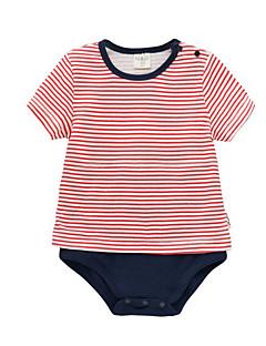 billige Babytøj-Baby Unisex En del Daglig Stribet, Bomuld Polyester Sommer Kort Ærme Simple Rød Lysegrå Marineblå