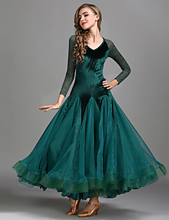 cheap Ballroom Dance Wear-Ballroom Dance Dresses Women's Training Performance Lace Velvet Lace Long Sleeves High Dress