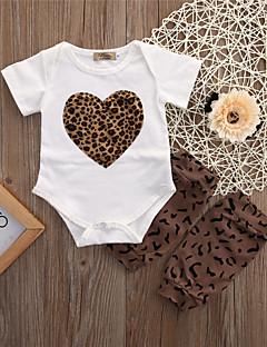 billige Babytøj-Baby Pige Tøjsæt Daglig Leopard, Bomuld Spandex Forår Sommer Kortærmet Aktiv Hvid