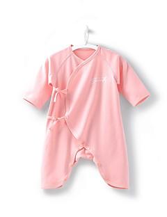 billige Babytøj-Baby Unisex En del Daglig Ferie Ensfarvet, Bomuld Forår Efterår Halvlange ærmer Simple Afslappet Blå Lyserød