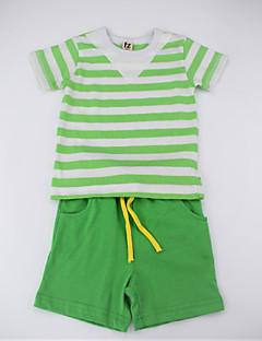 billige Tøjsæt til drenge-Drenge Tøjsæt Daglig Stribet Farveblok, Bomuld Sommer Kortærmet Simple Afslappet Grøn Gul