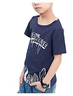 billige Overdele til drenge-Drenge T-shirt Daglig Geometrisk, Polyester Sommer Kortærmet Afslappet Navyblå