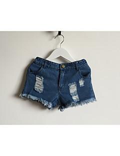 billige Bukser og leggings til piger-Pige Jeans Daglig Ensfarvet, Polyester Sommer Kortærmet Simple Blå
