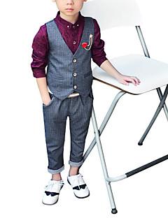billige Tøjsæt til drenge-Drenge Tøjsæt Ensfarvet, Polyester Forår Uden ærmer Simple Grå Vin
