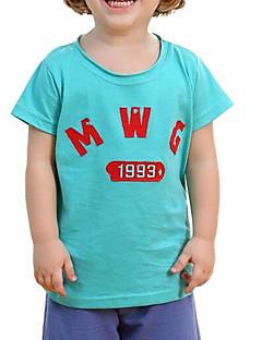 billige Overdele til drenge-Drenge Daglig Ensfarvet T-shirt, Polyester Forår Sommer Kortærmet Gade Grøn