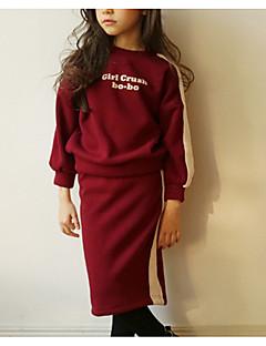 billige Tøjsæt til piger-Pige Tøjsæt Daglig Stribet, Polyester Forår Langærmet Simple Sort Rød