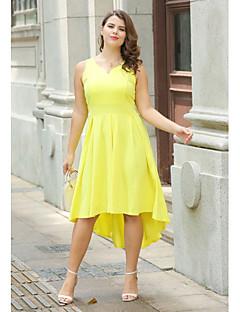 billige Kjoler-Dame Plusstørrelser A-linje Lille Sort Skater Kjole - Ensfarvet, Krøllede Folder Asymmetrisk V-hals Høj Talje