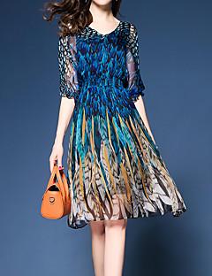 billige AW 18 Trends-Dame Bohem / Sofistikert Tynn Bukser - Grafisk Blå, Trykt mønster Blå / V-hals / Ferie / Sexy