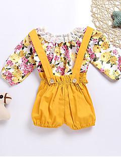 billige Sett med babyklær-Baby Unisex Tøjsæt Daglig Blomstret, Bomuld Forår Sommer Langærmet Simple Afslappet Gul
