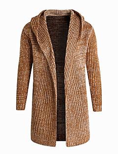 tanie Męskie swetry i swetry rozpinane-Męskie Prosty W serek Rozpinany Solid Color Długi rękaw