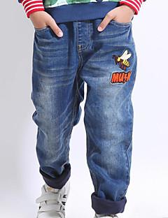 billige Jeans til drenge-Drenge Jeans Daglig Trykt mønster, Polyester Forår Langærmet Simple Blå Lyseblå