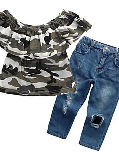 billige Tøjsæt til piger-Pige Tøjsæt Daglig I-byen-tøj Trykt mønster, Bomuld Sommer Kortærmet Afslappet Gade Blå