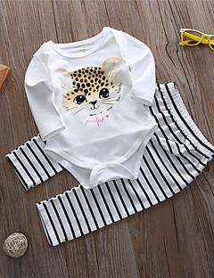 billige Babytøj-Baby Unisex Tøjsæt Daglig Stribet Dyretryk, Bomuld Sommer Langærmet Sødt Aktiv Hvid