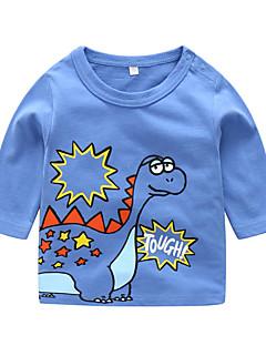 billige Pigetoppe-Unisex T-shirt Daglig Dyretryk, Bomuld Forår Langærmet Afslappet Blå Gul