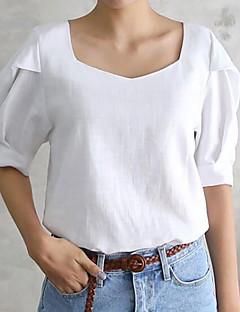 billiga Damöverdelar-Enfärgad T-shirt-Grundläggande Dam