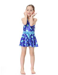 billige Badetøj til piger-Pige Boheme Blomstret Badetøj, Polyester Nylon Spandex Uden ærmer Lilla Rosa