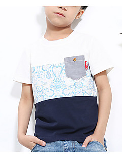 tanie Odzież dla chłopców-T-shirt Bawełna Dla chłopców Codzienny Wielokolorowa Lato Krótki rękaw Prosty White