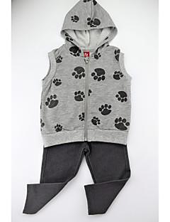 billige Tøjsæt til piger-Pige Tøjsæt Daglig Dyretryk Farveblok, Bomuld Spandex Forår Efterår Uden ærmer Simple Afslappet Grå