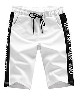 cheap Men's Clothing-Men's Street chic Plus Size Cotton Slim Shorts Chinos Pants - Solid Colored Color Block Letter Print