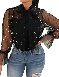billige Overdele til damer-Løstsiddende Dame - Ensfarvet Perler I-byen-tøj Skjorte / Sommer / Ren / Sexy