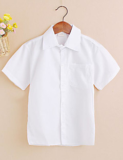 billige Overdele til drenge-Drenge Skjorte Daglig Ensfarvet, Bomuld Sommer Kortærmet Simple Afslappet Hvid