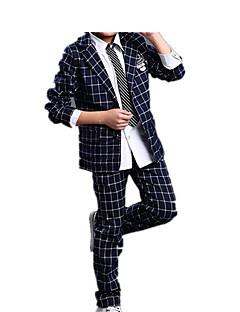 billige Tøjsæt til drenge-Drenge Fest Daglig Ensfarvet Ruder Tøjsæt, Bomuld Akryl Forår Efterår Langærmet Simple Afslappet Basale Navyblå Vin