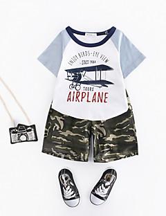 billige Tøjsæt til drenge-Drenge Tøjsæt Daglig Trykt mønster, Polyester Sommer Kortærmet Simple Hvid