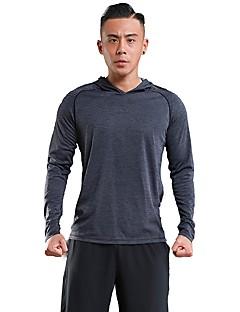 billige Løbetøj-Herre Løbe-T-shirt Langærmet Åndbarhed Hattetrøje / T-Shirt for Træning & Fitness / Fritidssport Polyester Rød / Grøn / Grå L / XL / XXL