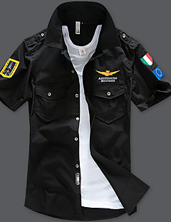 billige Herremote og klær-Tynn Skjorte Herre-Geometrisk Gatemote