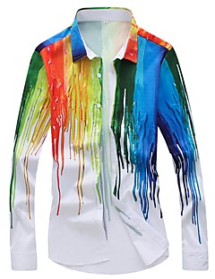 billige Herremote og klær-Skjorte - Stripet Blomstret Geometrisk, Trykt mønster Herre