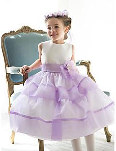 tanie Odzież dla dziewczynek-Sukienka Jedwab Poliester Dziewczyny Impreza Wyjściowe Jendolity kolor Kwiaty Lato Bez rękawów Prosty Urocza Niebieski Blushing Pink