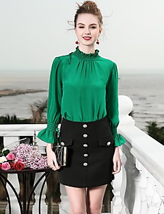 billige Dametopper-Silke Skjorte Dame - Ensfarget, Grunnleggende Arbeid