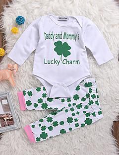 billige Sett med babyklær-Baby Unisex Tøjsæt Daglig Trykt mønster, Bomuld Spandex Forår Sommer Langærmet Aktiv Hvid